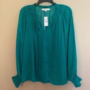 LOFT Emerald Green Silky Peasant Blouse